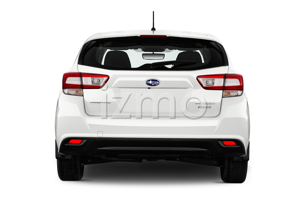 Straight rear view of 2017 Subaru Impreza CVT 5 Door Hatchback Rear View  stock images