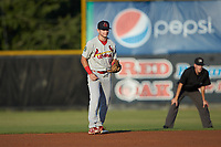 Johnson City Cardinals shortstop Mateo Gil (23) on defense against the Burlington Royals at Burlington Athletic Stadium on September 3, 2019 in Burlington, North Carolina. The Cardinals defeated the Royals 7-2 to even Appalachian League Championship series at one game a piece. (Brian Westerholt/Four Seam Images)