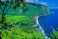 Overlook of Waipio Valley and the black-sand beach