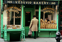 File Photo , New York , (NY) USA<br /> <br /> <br /> A customer walk into an italian Bakery in Lower East Side, New York<br /> (c) by Pierre Roussel / IMAGES DISTRIBUTION