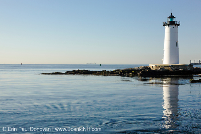 Portsmouth Harbor Light in New Castle, New Hampshire USA. Built in 1878, this lighthouse is located on the grounds of Fort Constitution.