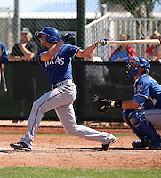Jonathan Roof of the Texas Rangers plays in a minor league spring training game against the Kansas City Royals at the Rangers minor league complex, on March 22, 2011  in Surprise, Arizona. .Photo by:  Bill Mitchell/Four Seam Images.