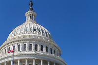 An offset view of the dome of the U.S. Capitol Building in Washington, DC.