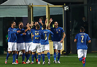 Football: Uefa Nations League Group A match Italy vs Netherlands at Gewiss stadium in Bergamo, on October 14, 2020.<br /> Italy's Lorenzo Pellegrini celebrates after scoring with his teammates during the Uefa Nations League match between Italy and Netherlands at Gewiss stadium in Bergamo, on October 14, 2020. <br /> UPDATE IMAGES PRESS/Isabella Bonotto