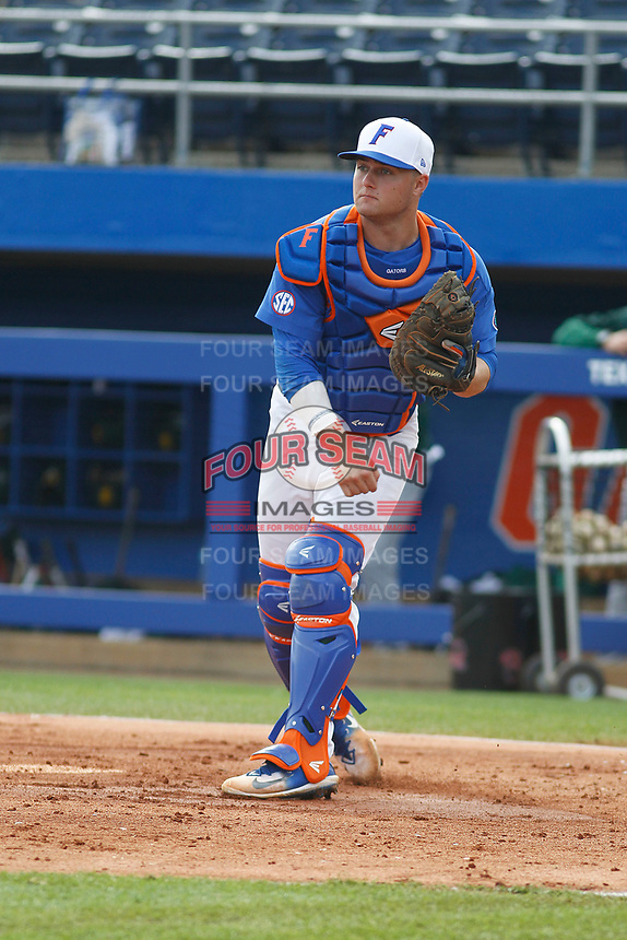 University of Florida Gators catcher Cal Greenfield (2) before a game against the Siena Saints at Alfred A. McKethan Stadium in Gainesville, Florida on February 17, 2018. Florida defeated Siena 10-2. (Robert Gurganus/Four Seam Images)