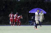 RIONEGRO - COLOMBIA, 09-02-2021: Fredy Salazar luce decedpcionado después del primer gol del Pasto durante el partido por la fecha 5 entre Águilas Doradas Rionegro y Deportivo Pasto de la Liga BetPlay DIMAYOR I 2020 jugado en el estadio Alberto Grisales de la ciudad de Rionegro. / Fredy Salazar of Aguilas looks disappointed after the first goal of Pasto during the match for the date 5 between Aguilas Doradas Rionegro and Deportivo Pasto of the BetPlay DIMAYOR League I 2020 played at Alberto Grisales stadium in Rionegro city. Photo: VizzorImage / Juan Augusto Cardona / Cont