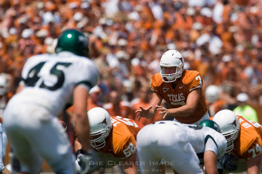 02 September 2006: University of Texas quarterback Colt McCoy audibles to his teammates during the Longhorns 56-7 victory over the University of North Texas at Darrell K Royal Stadium in Austin, TX.
