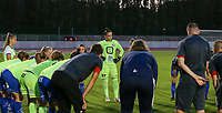 Gent players in a huddle (goalkeeper Nicky Evrard (1) of KAA Gent facing) before a female soccer game between FC Femina White Star Woluwe and KAA Gent Ladies on the third match day in the 2021 - 2022 season of Belgian Scooore Womens Super League , Friday 3 th of September 2021  in Woluwe , Belgium . PHOTO SPORTPIX   SEVIL OKTEM