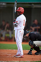 Indiana Hoosiers shortstop Jeremy Houston (1) at bat during a game against the Rutgers Scarlet Knights on February 23, 2018 at North Charlotte Regional Park in Port Charlotte, Florida.  Indiana defeated Rutgers 7-6.  (Mike Janes/Four Seam Images)
