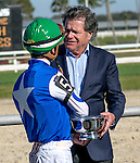 OLDSMAR, FLORIDA - FEBRUARY 13: Tepin #5 Owner Robert Masterson, with jockey Julien Leparoux, after winning the Lambholm South Endeavour Stakes at Tampa Bay Downs on February 13, 2016 in Oldsmar, Florida (photo by Doug DeFelice/Eclipse Sportswire/Getty Images)
