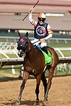 """DEL MAR, CA  AUGUST 18:  #12 Fashion Business, ridden by Flavien Prat, return to the. Connections after winning the Del Mar Handicap by The Japan Racing Association (Grade ll), Breeders' Cup """"Win and You're In Turf Division"""", on August 18, 2018 at Del Mar Thoroughbred Club in Del Mar, CA. (Photo by Casey Phillips/Eclipse Sportswire/Getty Images"""