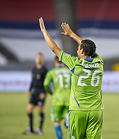 CARSON, CA - August 25, 2012: Seattle forward Sammy Ochoa (26) celebrating his goal during the Chivas USA vs Seattle Sounders match at the Home Depot Center in Carson, California. Final score, Chivas USA 2, Seattle Sounders 6.