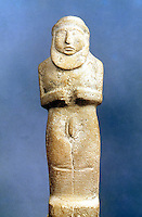 """World Civilization:  Mesopotamia--statue of Priest-King in Ritual Nudity.  Southern Iraq.  11 1/2 """" high.  Louvre, Paris."""