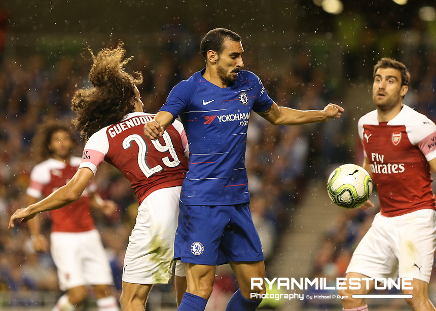 Davide Zappacosta of Chelsea in action against Matteo Guendouz of Arsenal during the International Champions Cup Game between Arsenal and Chelsea at the Aviva Stadium, Dublin. Photo By Michael P Ryan.