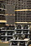 Inventory of fittings on wooden pallets to be warehoused and shipped, Tube Forgings of America, Oregon