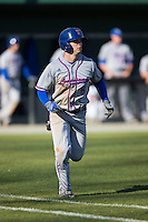 J.D. Perry (6) of the Louisiana Tech Bulldogs hustles down the first base line against the Charlotte 49ers at Hayes Stadium on March 28, 2015 in Charlotte, North Carolina.  The 49ers defeated the Bulldogs 9-5 in game two of a double header.  (Brian Westerholt/Four Seam Images)