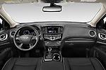 Stock photo of straight dashboard view of 2020 Infiniti QX60 Pure 5 Door SUV Dashboard