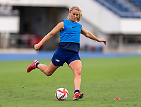 TOKYO, JAPAN - JULY 20: Lindsey Horan #9 of the USWNT crosses the ball during a training session at the practice fields on July 20, 2021 in Tokyo, Japan.
