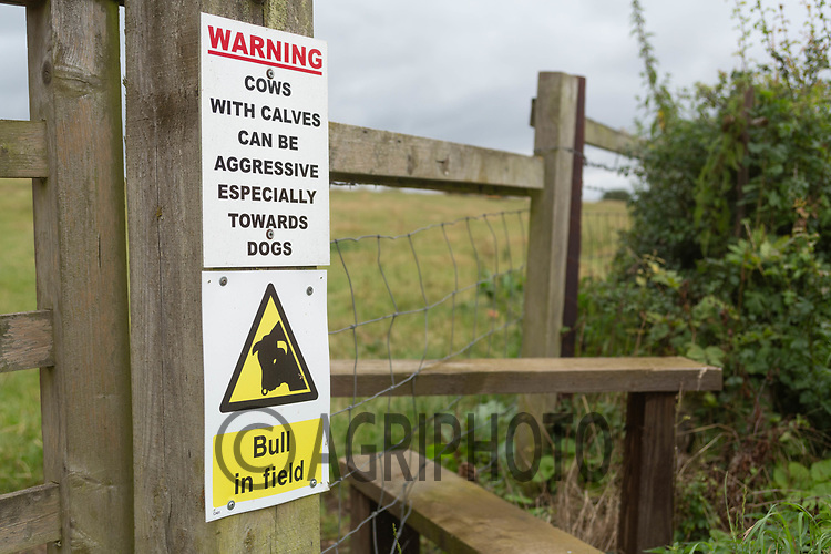 17-8-2021 Warning sign on the entrance to a public footpath crossing a field containing cattle <br /> ©Tim Scrivener Photographer 07850 303986<br />      ....Covering Agriculture In The UK....