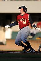 Scranton?Wilkes-Barre RailRiders catcher Bobby Wilson #46  during a game versus the Pawtucket Red Sox at McCoy Stadium on August 25, 2013 in Pawtucket, Rhode Island. (Ken Babbitt/Four Seam Images)
