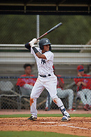 GCL Yankees East Miguel Marte (1) bats during a Gulf Coast League game against the GCL Phillies West on July 26, 2019 at the New York Yankees Minor League Complex in Tampa, Florida.  (Mike Janes/Four Seam Images)
