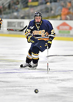 15 February 2008: Merrimack College Warriors' forward Matt Moulakelis, a Freshman from Hawthorne Woods, IL, in action against the University of Vermont Catamounts at Gutterson Fieldhouse in Burlington, Vermont. The Catamounts defeated the Warriors 4-1 in the first game of their 2-game weekend series...Mandatory Photo Credit: Ed Wolfstein Photo