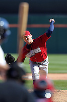 Lehigh Valley IronPigs pitcher Joe Savery #40 delivers a pitch during a game against the Buffalo Bisons at Coca-Cola Field on April 19, 2012 in Buffalo, New York.  Lehigh Valley defeated Buffalo 8-4.  (Mike Janes/Four Seam Images)