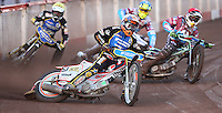 Heat 3: Mads Kornelliussen (white), Lewis Bridger (red), Kim Nilsson (blue) and Nicolai Klindt (yellow) - Lakeside Hammers vs Kings Lynn Stars, Elite League Speedway at the Arena Essex Raceway, Pufleet - 23/04/13 - MANDATORY CREDIT: Rob Newell/TGSPHOTO - Self billing applies where appropriate - 0845 094 6026 - contact@tgsphoto.co.uk - NO UNPAID USE.