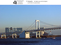 The Rainbow Bridge that stretches across Tokyo Bay, Tokyo, Japan..11 Jan 2005