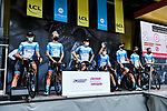 Israel Start Up Nation at the Team Presentation before the start of Stage 1 of Criterium du Dauphine 2020, running 218.5km from Clermont-Ferrand to Saint-Christo-en-Jarez, France. 12th August 2020.<br /> Picture: ASO/Alex Broadway | Cyclefile<br /> All photos usage must carry mandatory copyright credit (© Cyclefile | ASO/Alex Broadway)
