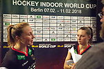 Berlin, Germany, February 09: During the FIH Indoor Hockey World Cup Pool B group match between Germany (black) and Australia (yellow) on February 9, 2018 at Max-Schmeling-Halle in Berlin, Germany. Final score 2-2. (Photo by Dirk Markgraf / www.265-images.com) *** Local caption *** Nike LORENZ #4 of Germany, Cecile PIEPER #22 of Germany