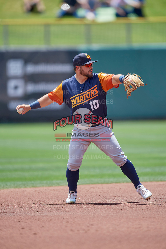 Nate Mondou (10) of the Las Vegas Aviators on defense against the Salt Lake Bees at Smith's Ballpark on June 27, 2021 in Salt Lake City, Utah. The Aviators defeated the Bees 5-3. (Stephen Smith/Four Seam Images)