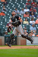 Sam Houston State Bearkats catcher Jordan Cannon (25) chases a fly ball against the Kentucky Wildcats during game four of the 2018 Shriners Hospitals for Children College Classic at Minute Maid Park on March 3, 2018 in Houston, Texas. The Wildcats defeated the Bearkats 7-2.  (Brian Westerholt/Four Seam Images)