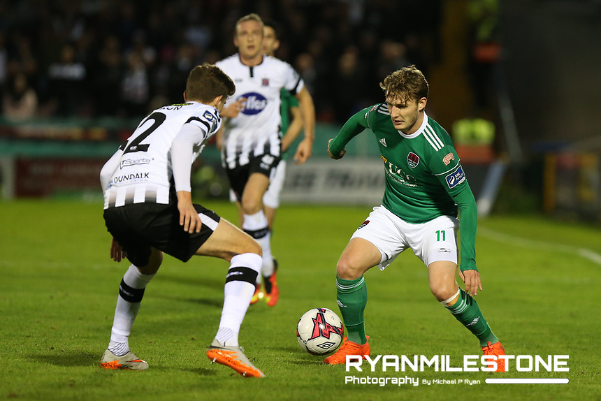 Kieran Sadlier of Dundalk in action against Sean Gannon of Dundalk during the SSE Airtricity League Premier Division game between Cork City and Dundalk on Friday 21st September 2018 at Turners Cross, Cork. Photo By Michael P Ryan
