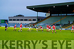 Jack Barry, (Captain) St. Brendan's Board in action against Mike Foley, East Kerry during the Kerry County Senior Football Championship Semi-Final match between East Kerry and St Brendan's at Austin Stack Park in Tralee, Kerry.