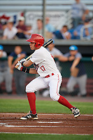 Auburn Doubledays center fielder Ricardo Mendez (17) hits into a fielder's choice during a game against the Hudson Valley Renegades on September 5, 2018 at Falcon Park in Auburn, New York.  Hudson Valley defeated Auburn 11-5.  (Mike Janes/Four Seam Images)