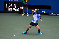 8th September 2021; New York, USA;  Lloyd Harris of South Africa hits a return during the men s singles quarterfinals of the 2021 US Open against Alexander Zverev of Germany in New York, the United States on Sept. 8, 2021. Photo by /Xinhua SPU.S.-NEW YORK-TENNIS-US OPEN-DAY 10-QUARTERFINAL-MEN S SINGLES MichaelxNagle