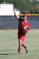 Joe Gatto #27 of the AZL Angels works out at the Los Angeles Angels Spring Training Complex on July 11, 2014 in Tempe, Arizona. (Larry Goren/Four Seam Images)