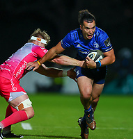 2nd October 2020; RDS Arena, Dublin, Leinster, Ireland; Guinness Pro 14 Rugby, Leinster versus Dragons; James Lowe (Leinster) pushes by a tackle from Aaron Wainwright (Dragons)