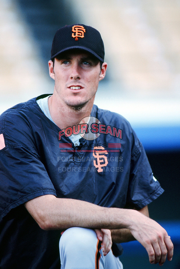 Joe Nathan of the San Francisco Giants before a 1999 Major League Baseball season game against the Los Angeles Dodgers at Dodger Stadium in Los Angeles, California. (Larry Goren/Four Seam Images)