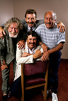EXCLUSIVE PHOTO - Le Festival de l'humour with  Tex Lecor, Roger Joubert,  Michel Forget et Louis-Paul Allard at CKAC 73 Am.<br /> <br /> <br />  circa 1987.