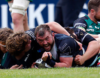 4th June 2021; Galway Sportsgrounds, Galway, Connacht, Ireland; Rainbow Cup Rugby, Connacht versus Ospreys; Sam Parry goes over to score a try for Ospreys in the 27th minute