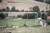 early race peloton cut to pieces after a crash. <br /> <br /> 78th Euro Metropole Tour 2018<br /> La Louvière – Tournai (BEL): 206km