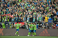 SEATTLE, WA - NOVEMBER 10: The Seattle Sounders celebrate after a goal by forward Raul Ruidiaz #9 during a game between Toronto FC and Seattle Sounders FC at CenturyLink Field on November 10, 2019 in Seattle, Washington.
