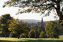 02/10/16 <br /> <br /> Autumn colours frame St. Peter's church in Edensor, on the Chatsworth Estate in the Derbyshire Peak District this morning. <br /> <br /> All Rights Reserved: F Stop Press Ltd. +44(0)1773 550665   www.fstoppress.com