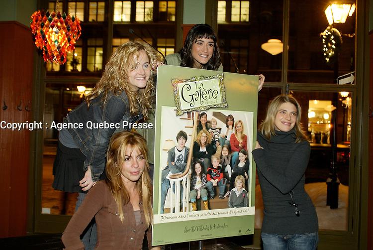 Montreal (Qc) CANADA - December 2007 file photo-<br /> -Anne Cassabonne,<br /> -Brigitte Lafleur<br /> -GeneviZvre Rochette,<br /> -Helene Florent,<br /> <br /> , at the<br /> launch of La galere (TV) DVD.<br /> <br /> <br /> Alliance Vivafilm, Productions RCB inc.,et Cirrus ont lancÈ mercredi 5 dÈcembre le coffret DVD de la premiZre saison de la sÈrie ´ La GalZre C, diffusÈe sur les ondes de Radio-Canada. Ont participÈ ? ce lancement : lOauteure RenÈe-Claude Brazeau, la rÈalisatrice Sophie Lorain, et la plupart des comÈdiennes et comÈdiens dont Anne Casabonne, HÈlZne Florent, Brigitte Lafleur et GeneviZvre Rochette.<br /> <br /> photo (c) Pierre Roussel- Images Distribution