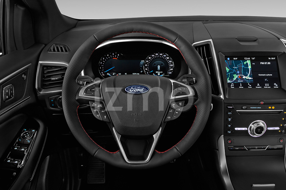 Car pictures of steering wheel view of a 2019 Ford Edge ST Line 5 Door SUV