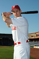 Feb 20, 2009; Clearwater, FL, USA; The Philadelphia Phillies catcher Chris Coste (27) during photoday at Bright House Field. Mandatory Credit: Tomasso De Rosa/ Four Seam Images