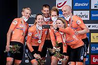 Team Netherlands selfie<br /> <br /> Mixed Relay TTT <br /> Team Time Trial from Knokke-Heist to Bruges (44.5km)<br /> <br /> UCI Road World Championships - Flanders Belgium 2021<br /> <br /> ©kramon