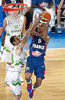 "Tony Parker of France in action during European basketball championship ""Eurobasket 2013"" quarter-final basketball game between Slovenia and France in Stozice Arena in Ljubljana, Slovenia, on September 18. 2013. (credit: Pedja Milosavljevic  / thepedja@gmail.com / +381641260959)"